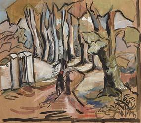 20th Century Irish School, Chatting on the Woodland Path at Morgan O'Driscoll Art Auctions