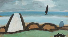 Markey Robinson, Cottage and Figure by the Shore at Morgan O'Driscoll Art Auctions