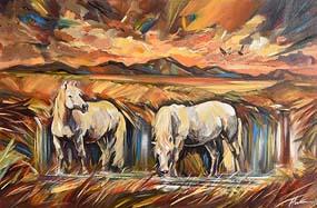 Douglas Hutton, Ponies & Bog, near Roundstone at Morgan O'Driscoll Art Auctions