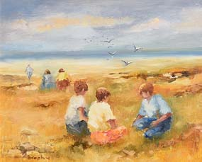 Elizabeth Brophy, Boys on the Beach at Morgan O'Driscoll Art Auctions