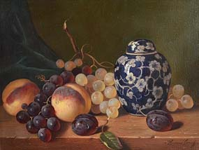 Raymond Campbell, Still Life - Biscuit Jar and Fruit at Morgan O'Driscoll Art Auctions