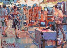 Arthur K. Maderson, Early Evening, Night Market, Le Vigan at Morgan O'Driscoll Art Auctions