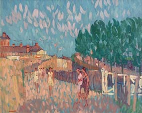 Desmond Carrick, Railway Crossing, East Pier, Dun Laoghaire at Morgan O'Driscoll Art Auctions