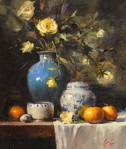 Mat Grogan, Yellow Roses in Blue Vase at Morgan O'Driscoll Art Auctions