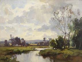 Frank McKelvey, Farmstead with Cows Grazing by the River at Morgan O'Driscoll Art Auctions