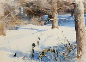 Tom Carr, Blackbird in the Snow at Morgan O'Driscoll Art Auctions