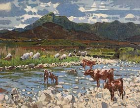 Maurice MacGonigal, Cattle and Sheep by the River at Morgan O'Driscoll Art Auctions