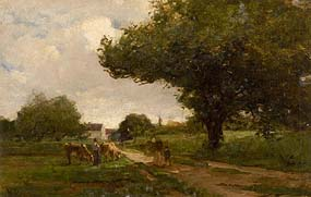 Nathaniel Hone, The Road to Bourron. Landscape with Cattle, Roadway and Tree at Morgan O'Driscoll Art Auctions