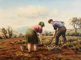 Charles J. McAuley, Digging Potatoes at Morgan O'Driscoll Art Auctions