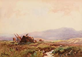 Frank McKelvey, Gathering the Peat at Morgan O'Driscoll Art Auctions