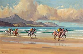 Robert Taylor, Racing on Glenbeigh Strand (1975) at Morgan O'Driscoll Art Auctions