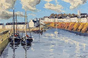 Ivan Sutton, Galway Hookers Berthed at Roundstone Harbour at Morgan O'Driscoll Art Auctions