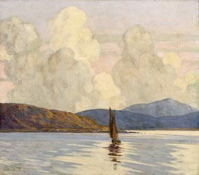 Paul Henry, Sailing Boat on a Loch (1916-17) at Morgan O'Driscoll Art Auctions