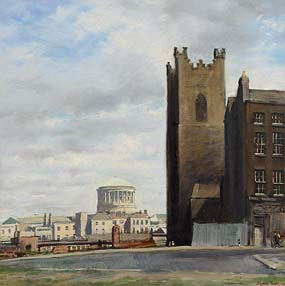 Thomas Ryan, The Four Courts and St Aodeons Church, Dublin at Morgan O'Driscoll Art Auctions