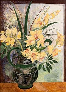 Pauline Bewick, Yellow Orchids (1997) at Morgan O'Driscoll Art Auctions