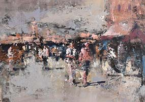 Andrew Hood, Evening Market, Dublin at Morgan O'Driscoll Art Auctions