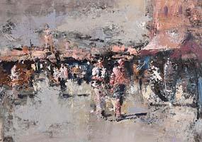 Andrew Hood, Evening Market, Dublin at Morgan O'Driscoll Art Auctions