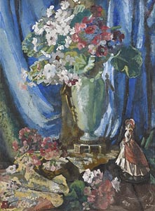 Kathleen Fox, Still Life - Vase of Flowers and Figurine at Morgan O'Driscoll Art Auctions