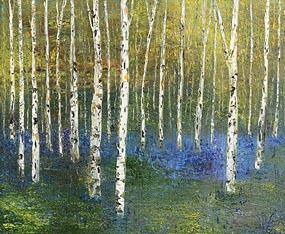 Hazel Revington, Birch and Bluebells at Morgan O'Driscoll Art Auctions