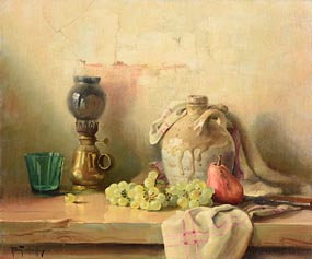 Robert Chailloux, Still Life - Fruit, Lamp and Earthern Ware Jar at Morgan O'Driscoll Art Auctions