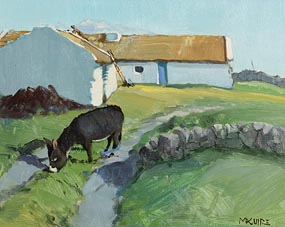 Cecil Maguire, Thatching Ballyconneey, Roundstone at Morgan O'Driscoll Art Auctions