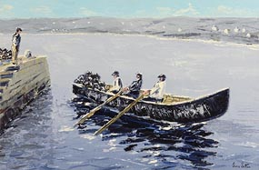 Ivan Sutton, Currach Lobstermen, Aran Mor, Co Galway at Morgan O'Driscoll Art Auctions