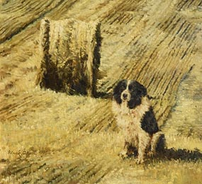 Mark O'Neill, Collie and Straw Bale (1997) at Morgan O'Driscoll Art Auctions