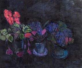 Alexey Krasnovsky (1945-2016) Russian, Cyclamen and African Violets (2006) at Morgan O'Driscoll Art Auctions