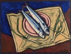 Graham Knuttel, Still Life with Mackerel at Morgan O'Driscoll Art Auctions