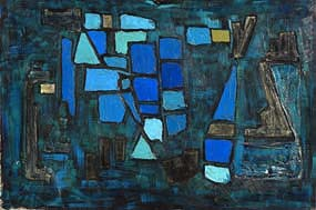 Padraig MacMiadhachain, Blue Abstract Composition at Morgan O'Driscoll Art Auctions