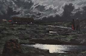 Ciaran Clear, Winter's Night the Old Bog Road at Morgan O'Driscoll Art Auctions