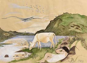 Pauline Bewick, White Cow & Caragh Lake (1983) at Morgan O'Driscoll Art Auctions