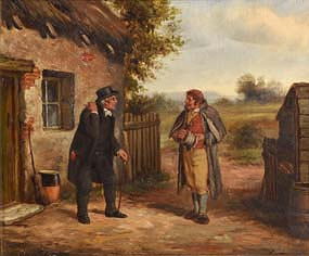 Septamus Dawson, Father Tom and Myles - A Scene from Colleen Bawn by Dion Boucicault at Morgan O'Driscoll Art Auctions
