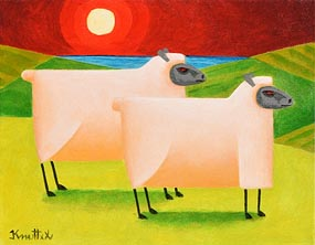 Graham Knuttel, Ewes in Sunset at Morgan O'Driscoll Art Auctions