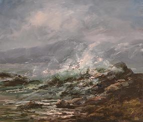 Joop Smits, Waves Breaking on the Rocks at Morgan O'Driscoll Art Auctions