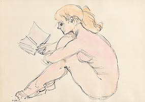 Daniel O'Neill, Female Nude Reading at Morgan O'Driscoll Art Auctions