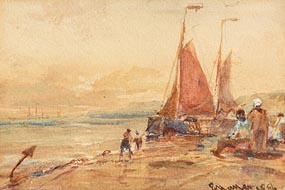 Edwin Hayes, Fisher Folk at the Quay (1896) at Morgan O'Driscoll Art Auctions