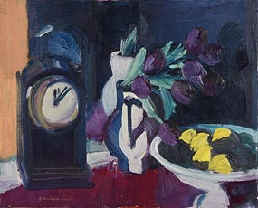 Brian Ballard, Still Life - Clock, Flowers & Fruit (2000) at Morgan O'Driscoll Art Auctions