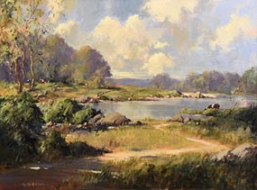 George Gillespie, On the River Shannon, Corbally Co Limerick at Morgan O'Driscoll Art Auctions
