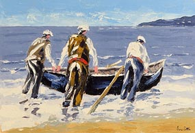 Ivan Sutton, Launching the Currach, Aran Mor, Co Galway at Morgan O'Driscoll Art Auctions
