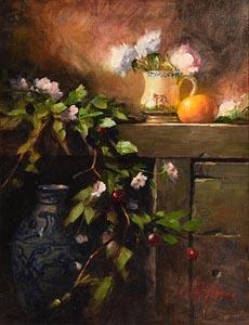 Mat Grogan, Still Life - Fruit and Flowers at Morgan O'Driscoll Art Auctions
