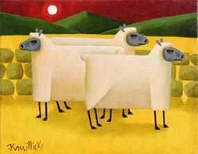 Graham Knuttel, Ewes in the Moonlight at Morgan O'Driscoll Art Auctions