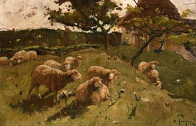 Harry Thompson, Sheep on the Hillside at Morgan O'Driscoll Art Auctions