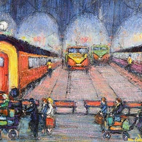 Marie Carroll, Trains Going Places, Heuston Station, Dublin at Morgan O'Driscoll Art Auctions