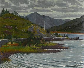 Maurice MacGonigal, The Lake at Kylemore and the Maamturk Mountain (1949) at Morgan O'Driscoll Art Auctions