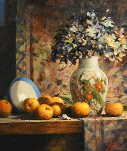 Mat Grogan, Blue Bowl, Japanese Vase and Mandarins at Morgan O'Driscoll Art Auctions