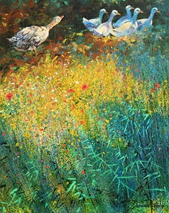 Kenneth Webb, Geese in the Poppy Meadow at Morgan O'Driscoll Art Auctions