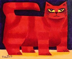 Graham Knuttel, Yellow Eyed Cat at Morgan O'Driscoll Art Auctions