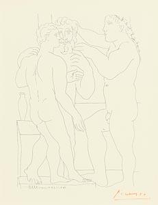 Pablo Picasso, Deux Hommes Sculptes (Bloch 161) at Morgan O'Driscoll Art Auctions