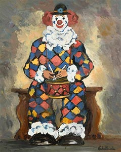 Gladys MacCabe, Clown Playing Drums at Morgan O'Driscoll Art Auctions
